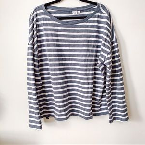Blue + White Striped Long Sleeved Tee // GAP